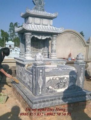 Mẫu mộ đá 2 mái đao