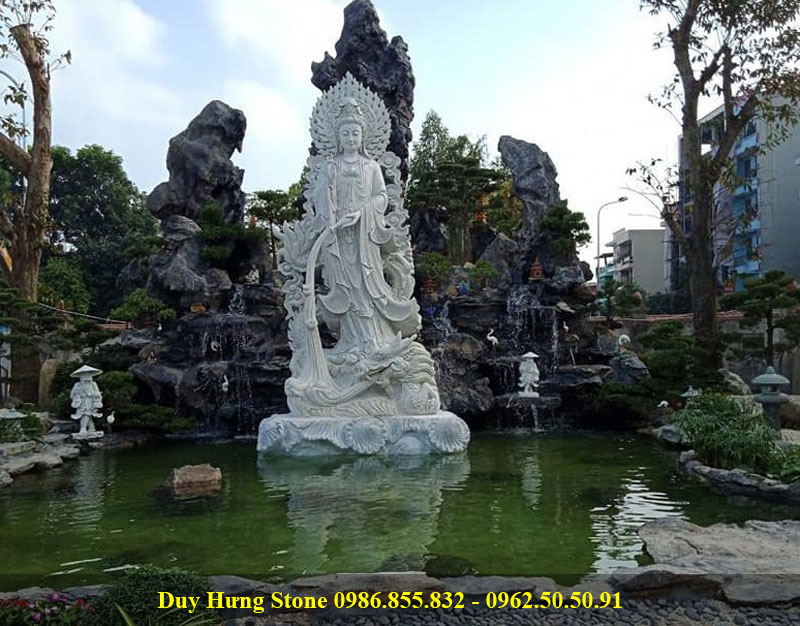 Tượng Phật Quan Âm long hải bằng đá