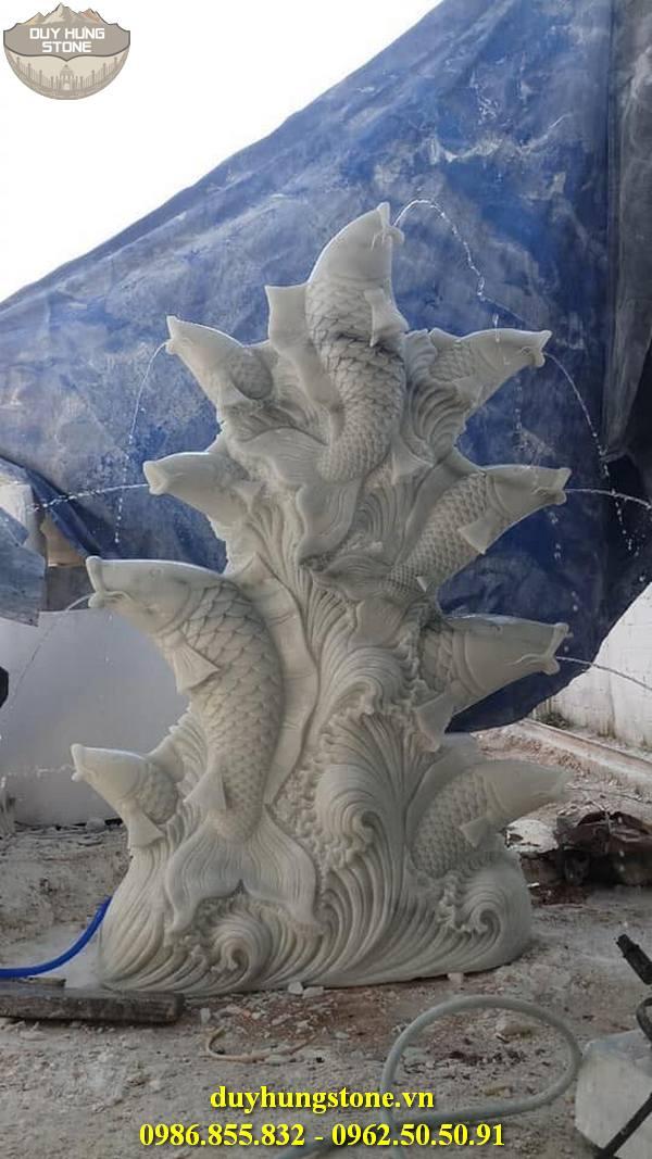 Tượng cá chép bằng đá 15