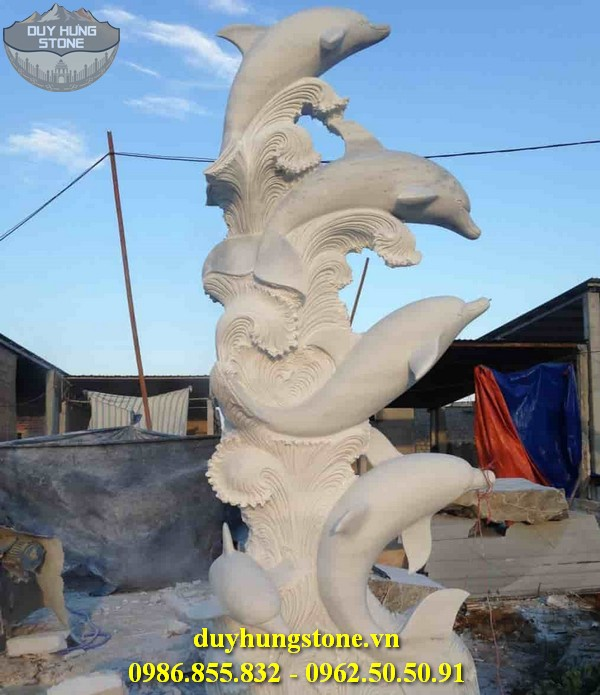 Tượng cá heo bằng đá 11