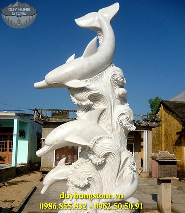 Tượng cá heo bằng đá 9